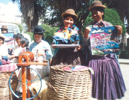 Artisans with their work